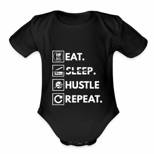 Eat sleep hustle repeat - Short Sleeve Baby Bodysuit