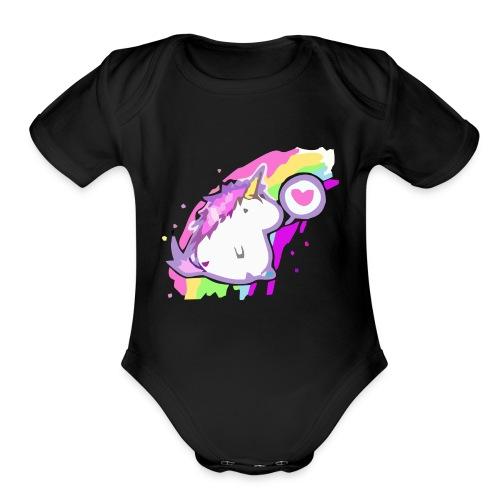 Unicornio feliz - Organic Short Sleeve Baby Bodysuit