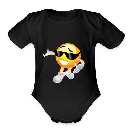 Cool Smiling Face with Sunglasses - Organic Short Sleeve Baby Bodysuit