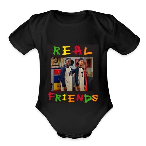Real Friends - Organic Short Sleeve Baby Bodysuit