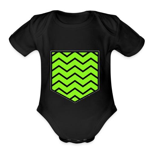 Geen stripe pocket - Organic Short Sleeve Baby Bodysuit