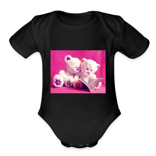 Cute teddy bears - Organic Short Sleeve Baby Bodysuit
