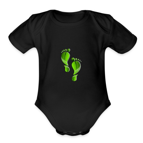 green carbon leaf footprint - Organic Short Sleeve Baby Bodysuit