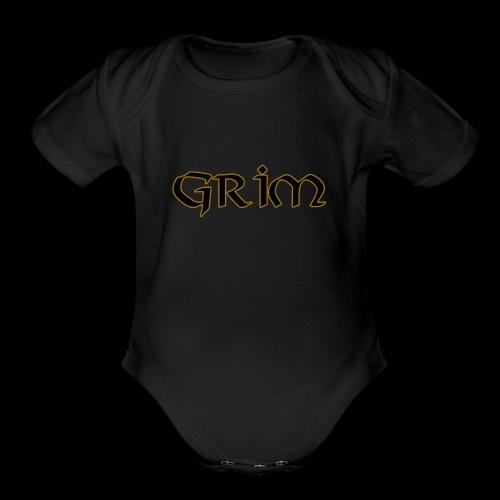 Grim Gold edge black interior - Organic Short Sleeve Baby Bodysuit