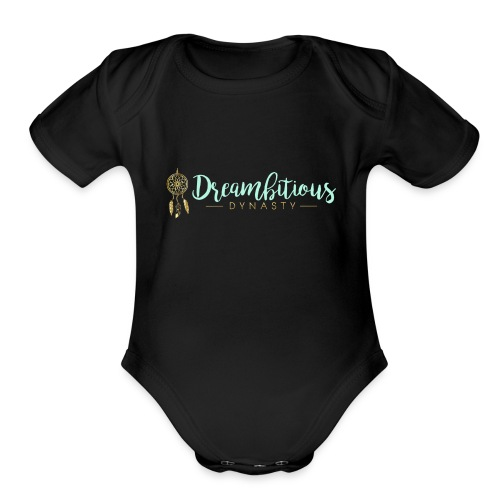 Dreambitious-Dynasty-Logo-MintGold_-1- - Organic Short Sleeve Baby Bodysuit