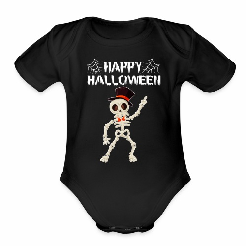 Happy Halloween T-shirt Skeleton Dance - Organic Short Sleeve Baby Bodysuit