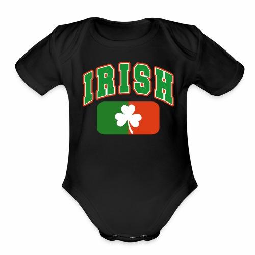 Vintage Irish Flag Shirt St Patricks Day Shamrock - Organic Short Sleeve Baby Bodysuit