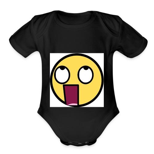 shocked f - Organic Short Sleeve Baby Bodysuit