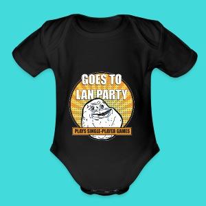 lanparty_singleplayer_meme - Short Sleeve Baby Bodysuit
