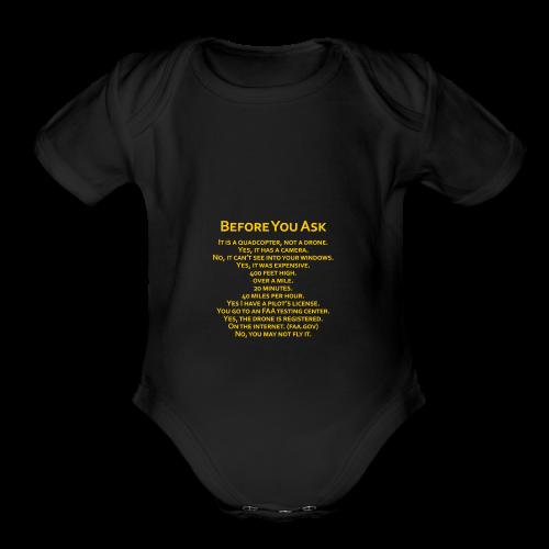tshirt_pilotVersion_nologo_gold - Organic Short Sleeve Baby Bodysuit