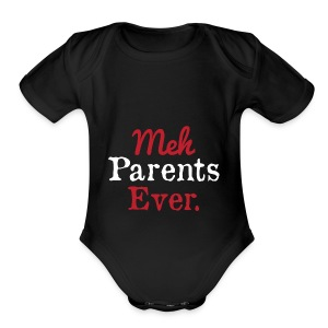 meh parents ever logo Product - Short Sleeve Baby Bodysuit