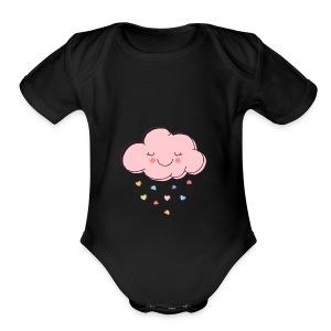 Raining Hearts - Short Sleeve Baby Bodysuit
