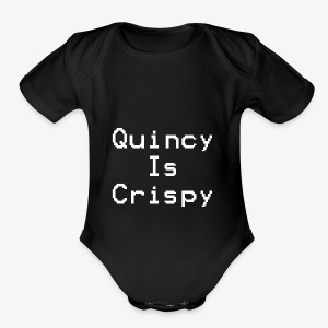 QuincyIsCrispy Text Logo (White) - Short Sleeve Baby Bodysuit