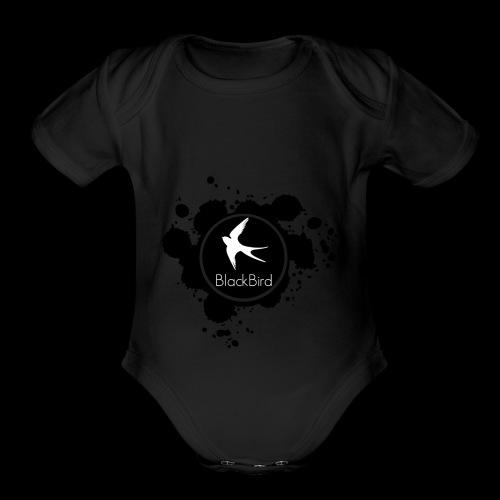 BlackBird Ink Spill Logo - Organic Short Sleeve Baby Bodysuit