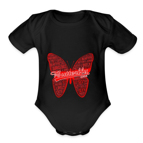BUTTERFLY WORD RED - Organic Short Sleeve Baby Bodysuit
