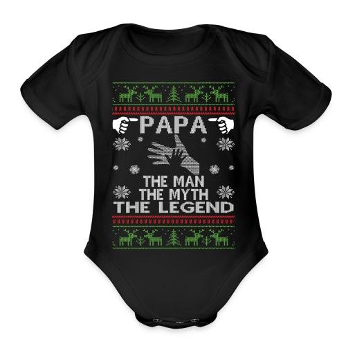 Papa The Man The Myth The legend - Organic Short Sleeve Baby Bodysuit