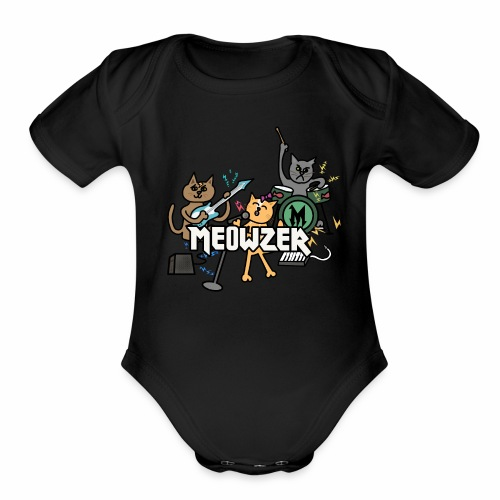 Meowzer! Funny Cute Cat Kitty Band, Adorable Silly - Organic Short Sleeve Baby Bodysuit