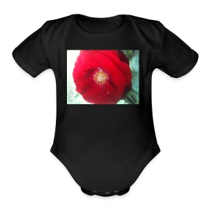 The red flower - Short Sleeve Baby Bodysuit