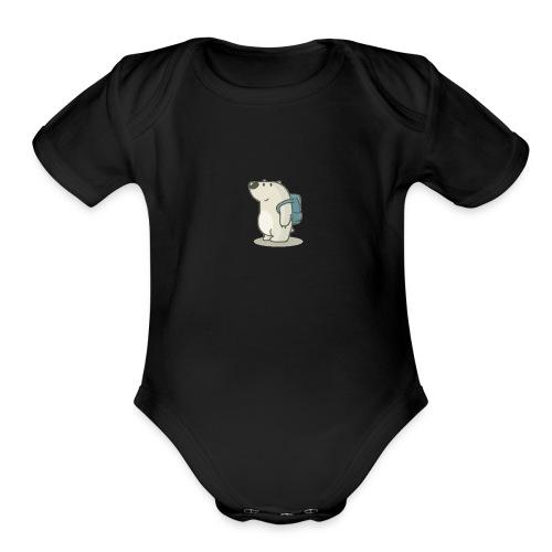 polar bear with backpack by radu191289 d3a1n08 1 - Organic Short Sleeve Baby Bodysuit