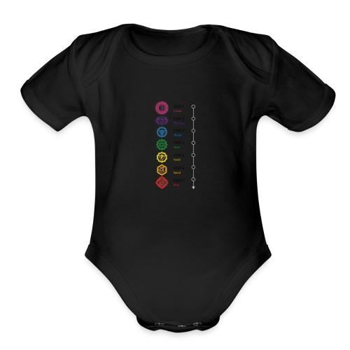chakra steps - Organic Short Sleeve Baby Bodysuit
