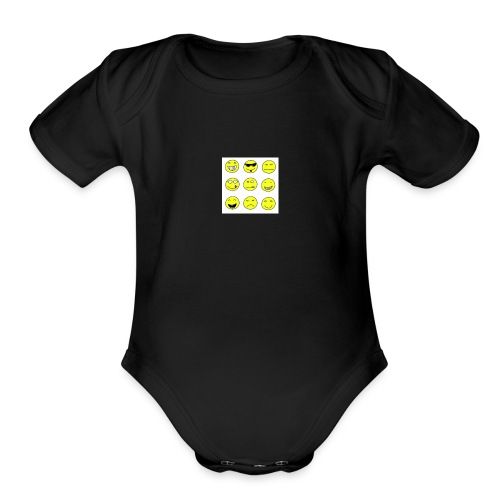 happy faces - Organic Short Sleeve Baby Bodysuit
