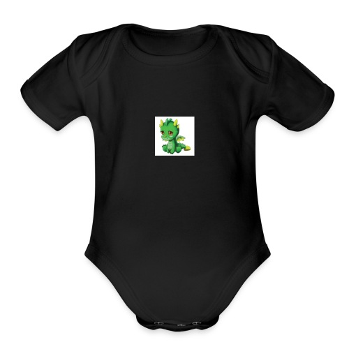 Sad Cartoon Dragon - Organic Short Sleeve Baby Bodysuit