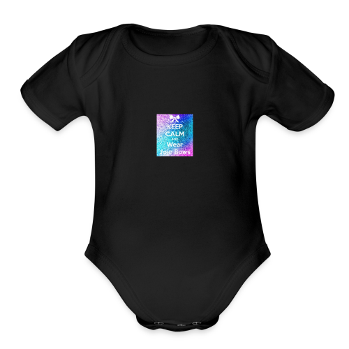 keep calm where jojo bows - Organic Short Sleeve Baby Bodysuit