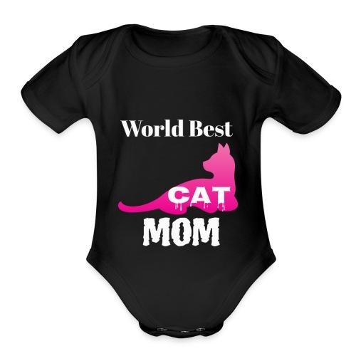 World Best Cat Mom - Organic Short Sleeve Baby Bodysuit