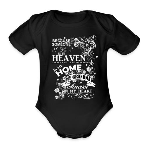 grandma heaven in my home - Organic Short Sleeve Baby Bodysuit