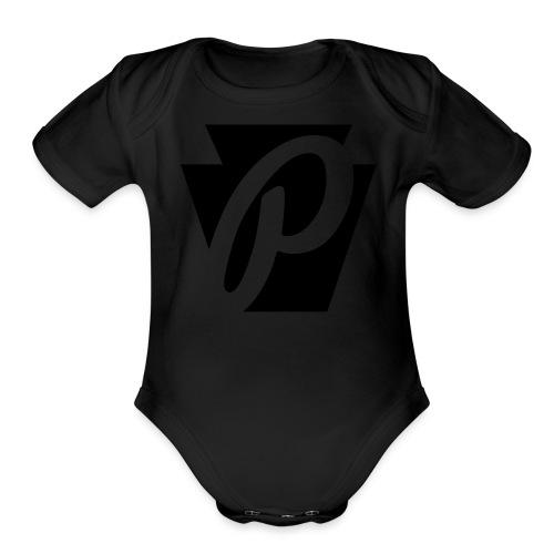P Stone Logo - Organic Short Sleeve Baby Bodysuit