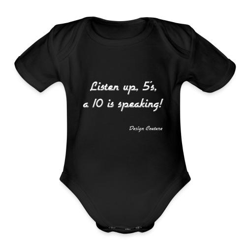 LISTEN UP 5 S WHITE - Organic Short Sleeve Baby Bodysuit