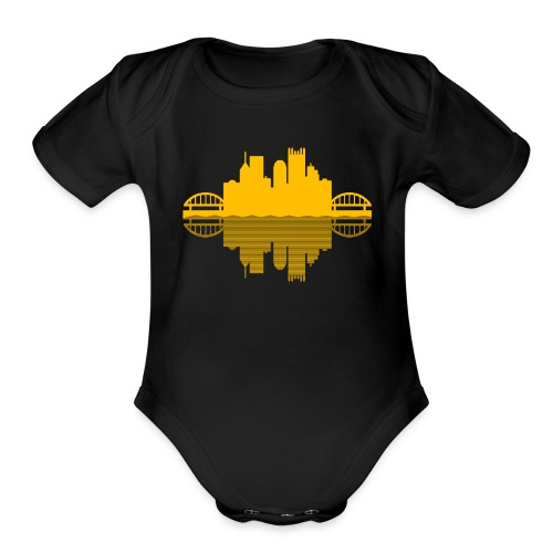 Pittsburgh Skyline Reflection (Gold) - Organic Short Sleeve Baby Bodysuit