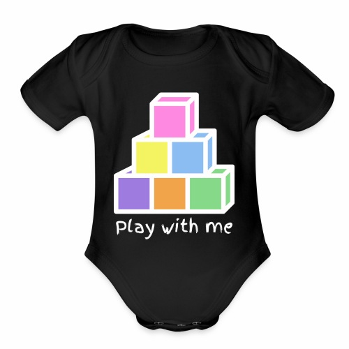 Play With Me (version white) - Organic Short Sleeve Baby Bodysuit