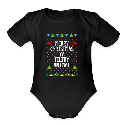Merry x mas ya filthy animals Full Color - Organic Short Sleeve Baby Bodysuit