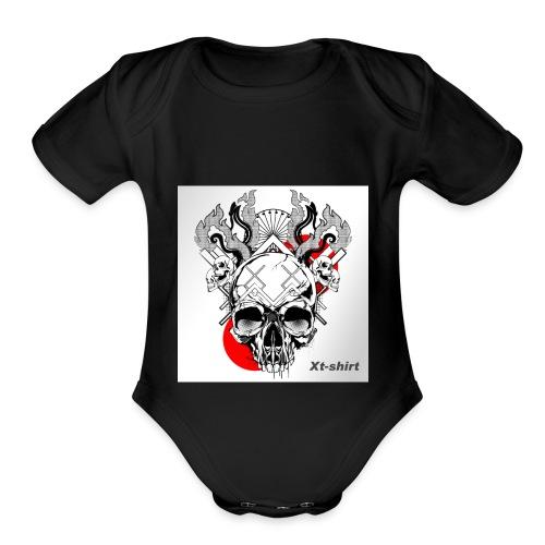 zt flameskull 01 - Organic Short Sleeve Baby Bodysuit