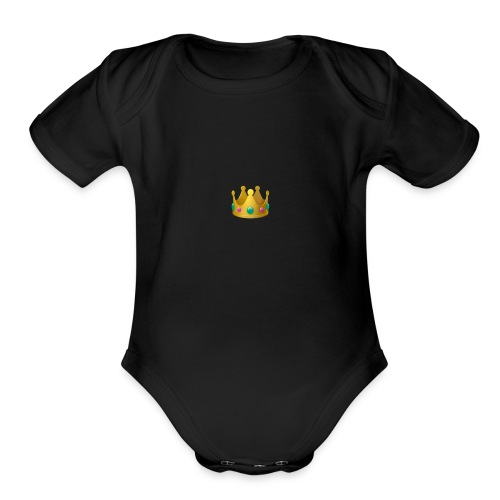 crown 1f451 - Organic Short Sleeve Baby Bodysuit