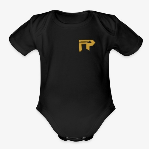 black/gold logo to side - Organic Short Sleeve Baby Bodysuit