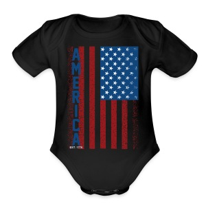 American Flag - Short Sleeve Baby Bodysuit