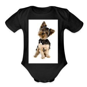 Curious pup - Short Sleeve Baby Bodysuit