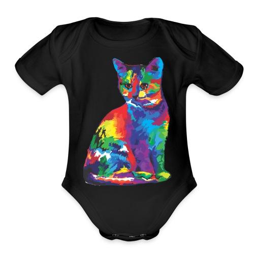 Flashy Cat - Organic Short Sleeve Baby Bodysuit