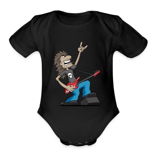 Heavy Metal Rock Guitarist Cartoon - Organic Short Sleeve Baby Bodysuit