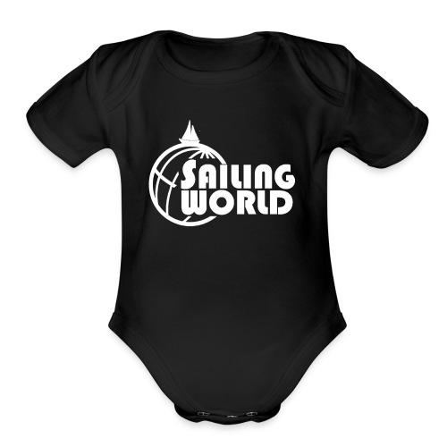 SAILING WORLD white - TheSailing Family - Organic Short Sleeve Baby Bodysuit