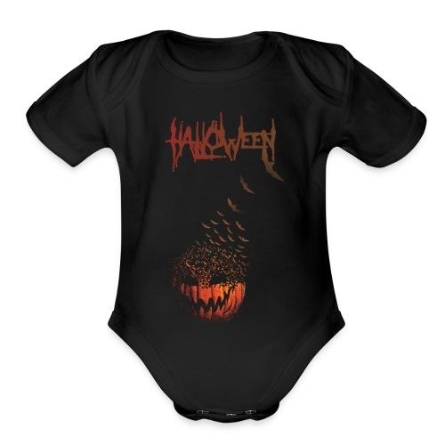 Halloween Jack O' Bats - Organic Short Sleeve Baby Bodysuit
