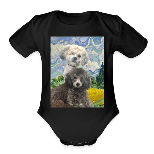 Morty and Wonton - Dogs of Modern Art - Organic Short Sleeve Baby Bodysuit