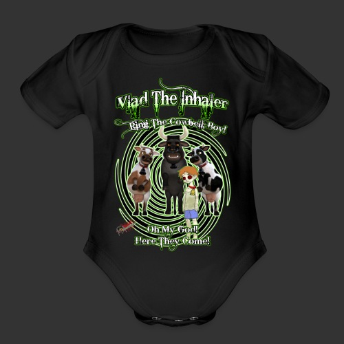 Ring The Cowbell Boy - Organic Short Sleeve Baby Bodysuit
