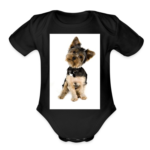 Curious pup - Organic Short Sleeve Baby Bodysuit