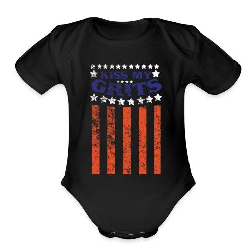 NEELY - Kiss My Grits flag - Organic Short Sleeve Baby Bodysuit
