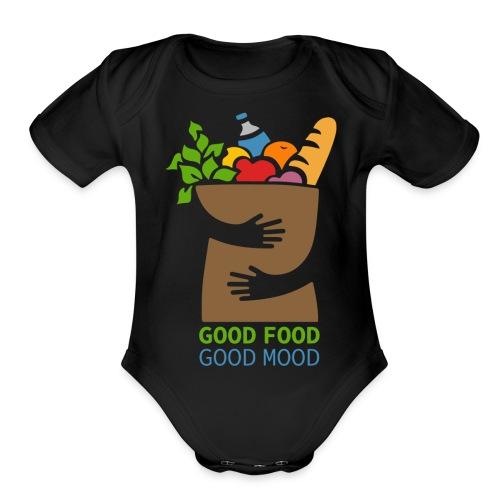 Good Food Good Mood | Minimal Colorful Food Design - Organic Short Sleeve Baby Bodysuit