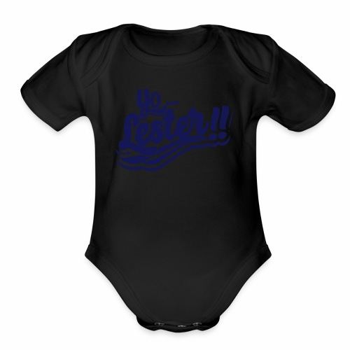 Yo... Lester!! Navy Artwork - Organic Short Sleeve Baby Bodysuit