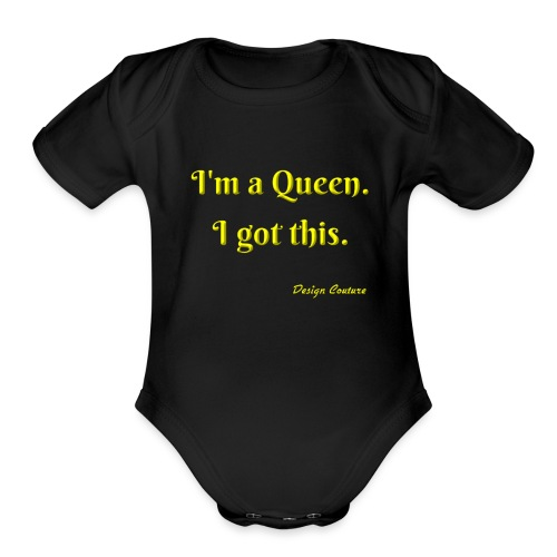 I M A QUEEN YELLOW - Organic Short Sleeve Baby Bodysuit